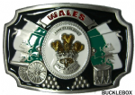 Wales Land of the Free Welsh Flag Belt Buckle with display stand. Code BC4